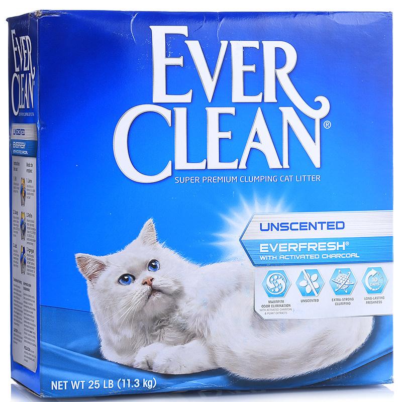 美国Ever Clean蓝钻 双重活性炭粗颗粒结块猫砂 25磅(11.3kg)
